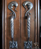 Forged Wine Cellar Door Pull with Repoussé Acanthus Leaves  #13