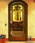 Wine Cellar Glass Door with Custom Forged Hardware  #4