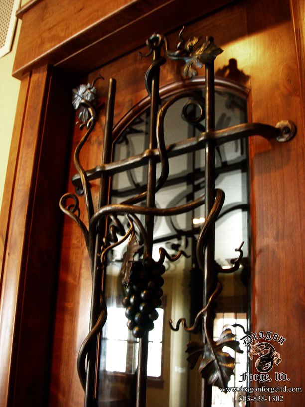 Wine Cellar Door Grill With Forged Metal Grapes 3