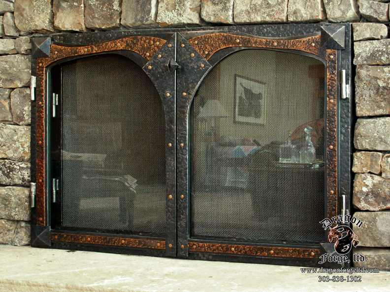 Glass And Screen Fireplace Door With Copper Accents Dragon Forge Colorado Blacksmith