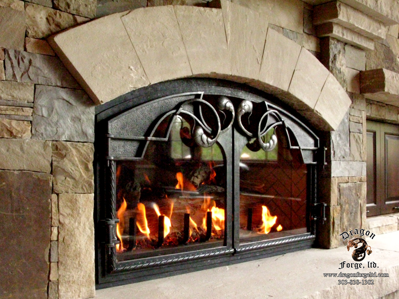 Arched Fireplace Doors Glass Wonderful Interior Design For Home