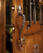 Forged Wine Cellar Door Pull Hand Forged Grapes with Dead Bolt  #1