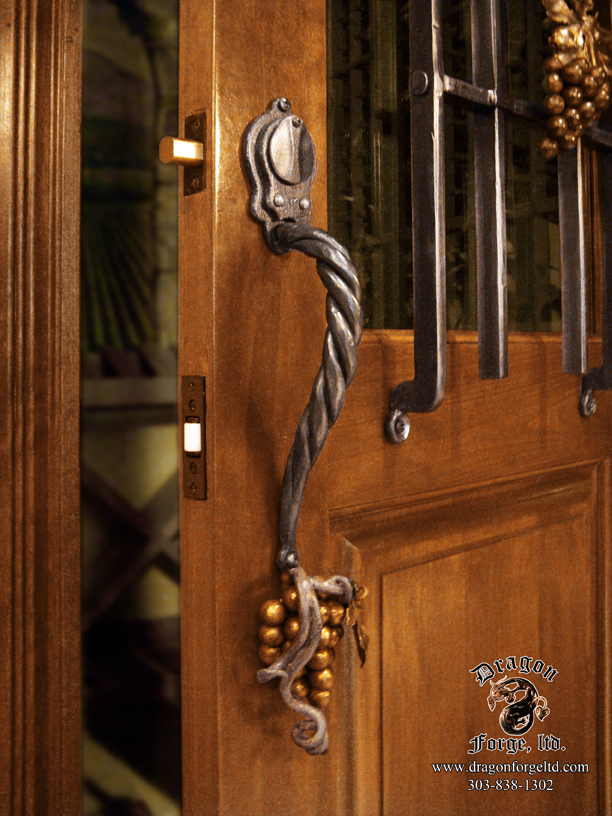 Forged wine cellar door pull hand forged grapes with dead bolt 1 dragon forge colorado - Cellar door hinges ...