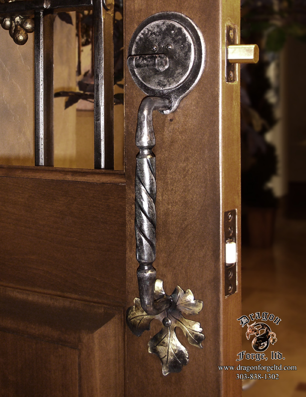 Forged wine cellar door pull with dead bolt 2 dragon forge colorado blacksmith custom - Cellar door hinges ...