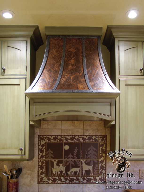copper and steel stove hood zoom in read more - Stove Hoods