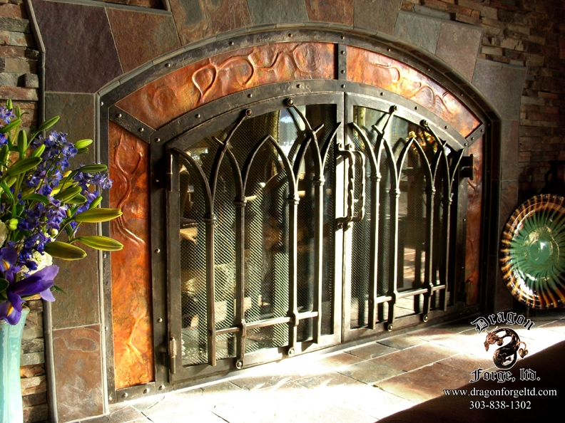 Hand Forged Custom Ornamental Iron Fireplace Doors with Copper Paneling  Zoom in Read moreFireplace Doors   Dragon Forge   Colorado Blacksmith   Custom hand  . Custom Wrought Iron Fireplace Screens. Home Design Ideas