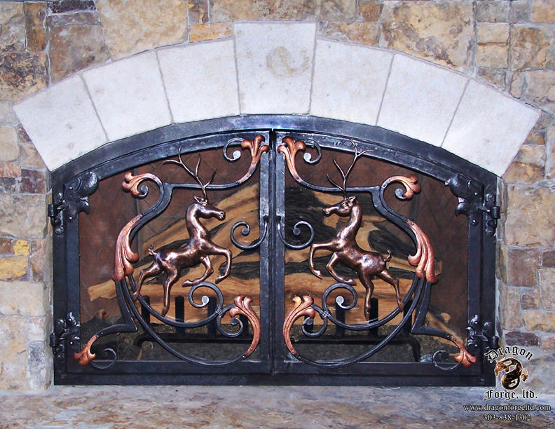 Forged Bronze Leaping Stags Fireplace Doors Dragon Forge