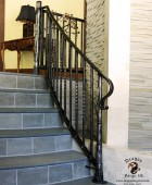 Metal Aspen Tree Null Posts with Forged Balusters Staircase