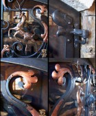 Forged Bronze Leaping Stags Fireplace Doors (details)  #23