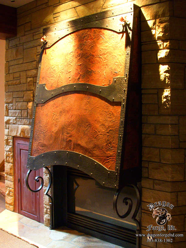Very Forged Copper and Steel Fireplace Hood with Scroll Brackets  IC71