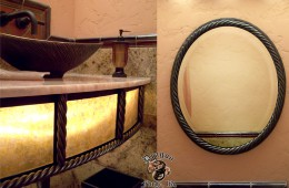 Forged Decorative Metal Mirror and Sink Base