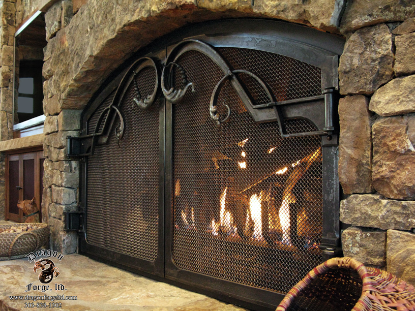 Fireplace Door glass fireplace doors : Fireplace Doors | Dragon Forge - Colorado Blacksmith - Custom hand ...