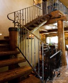Metal Aspen Tree Null Posts with Forged Aspen Leaves and Balusters