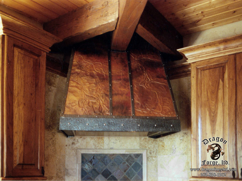 Arts and Crafts Kitchen Stove Hood Copper and Metal | Dragon Forge ...