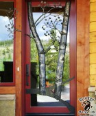 Front Door with Hand Forged Metal Aspen Trees  #8
