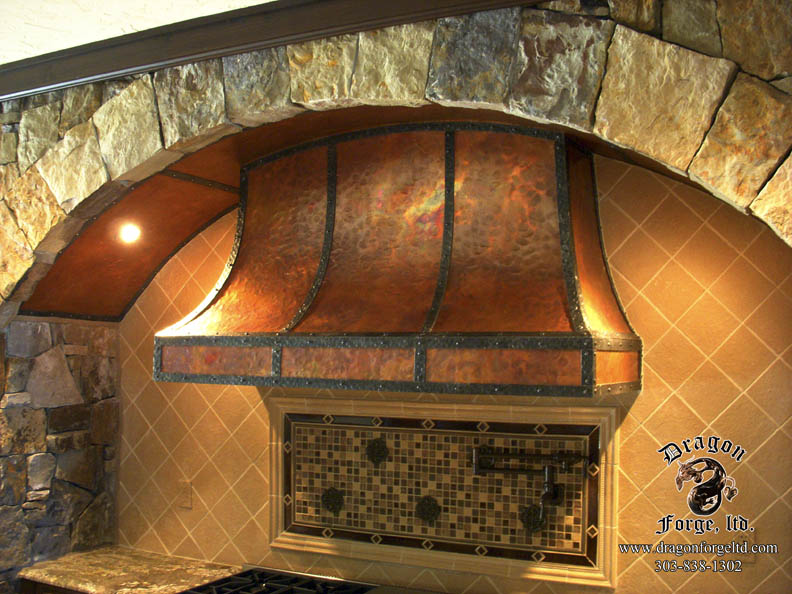 Convexed Kitchen Stove Hood Copper And Metal Dragon Forge Colorado Blacksmith Custom Hand