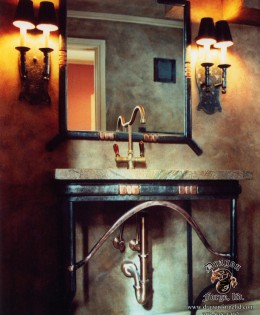Forged Art Deco Mirror and Sink Base
