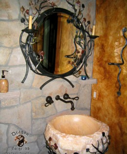 Aspen Tree Sink Base with Onyx Sink and Custom Mirror