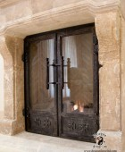Custom Fireplace Doors with Crusaders Cross Theme