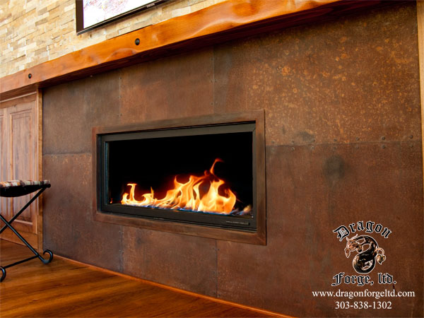 rusted steel plate surround forge colorado