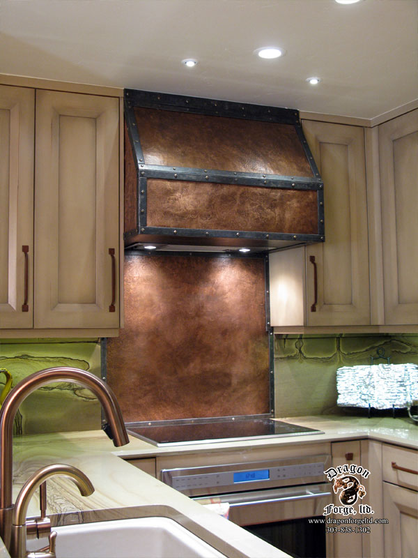 Copper Stove Hood With Copper Backsplash Dragon Forge Colorado Blacksmith