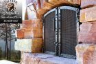 Whitefish Montana Forged Exterior Bronze and Steel Fireplace Doors