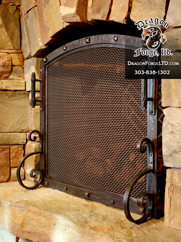 Fireplace Design cast iron fireplace screen : Fireplace Doors | Dragon Forge - Colorado Blacksmith - Custom hand ...